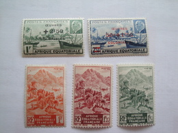 1944 / 47 AEF Yv 195/6 - 214/6 * MH  Bateaux Ships  Cote 5.40 € Michel 242/3 - 268/70 - Nuovi