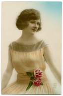FASHION : PRETTY GIRL WITH DRESS AND ROSES (HAND COLOURED) - Fashion