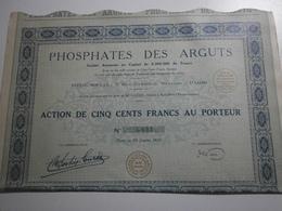 31 Haute Garonne ? Société Des Phosphates Des Arguts, Janvier 1929. Lot De 4 Actions - Mines