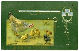A HAPPY EASTER : HEN WITH CHICKS (ART NOUVEAU - EMBOSSED) - Easter