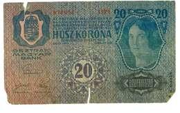 IMPERO AUSTRO UNGARICO - ANNO 1913 - 20 HUSZ KORONA - QUALITA' B - SERIALE 978056 - 1171 - WYSIWYG - Austria