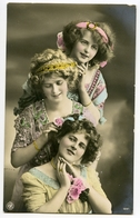 FASHION : TRIO OF PRETTY GIRLS WITH DECORATIVE HAIR BANDS AND DRESSES (HAND COLOURED) - Fashion