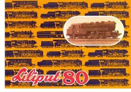 KAT314 Modellbahnprospekt Liliput 80, 1980, Mit Preisliste, 4-seitiger Farbprospekt, Deutsch, Preisliste In Schilling, - Littérature & DVD