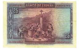SPAGNA - 25 PESETAS - QUALITA' MB - ANNO 1928 SERIALE  A5647891 - WYSIWYG - [ 1] …-1931 : Prime Banconote (Banco De España)