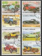 S. TOME' E PRINCIPE 1983 STORIA DELL'AUTOMOBILE YVERT. 748-755 USATA VF - Sao Tomé E Principe