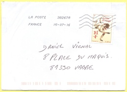 FRANCIA - France - 2016 -  0,80€ Année Du Singe - Viaggiata Da 38267A Per Vabre - Covers & Documents