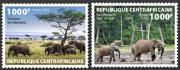CENTRAL AFRICA 2019 - Elephants, 2v. Official Issue - Olifanten