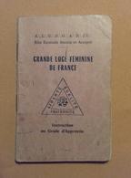 Vintage Franc Maçon Ancien Livret Grande Loge Féminine De France - LIVRAISON GRATUITE - Oude Documenten