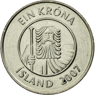 Monnaie, Iceland, Krona, 2007, TTB+, Nickel Plated Steel, KM:27A - Island