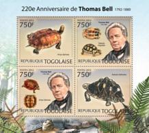 Togo  2012 Thomas Bell , English Zoologist ,turtles  ,fauna - Togo (1960-...)
