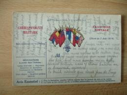 Carte Franchise Postale Guerre 14.18 6 Drapeaux Central - Marcophilie (Lettres)