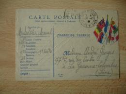 Carte Franchise Postale Guerre 14.18 , 7 Drapeaux  Cote Droit - Marcophilie (Lettres)