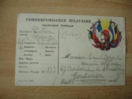 Carte Franchise Postale Guerre 14.18 Marianne Bonnet Phrygien Soleil 6 Drapeaux  Et T L Et Cie - Postmark Collection (Covers)