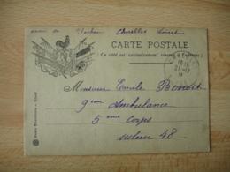 Carte Franchise Postale Guerre 14.18 Coq Marianne  8 Drapeaux - Marcophilie (Lettres)