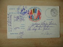 Lot De 2 Carte Franchise Postale Guerre 14.18 France Quand Meme R F 6 Drapeaux Centre - Postmark Collection (Covers)