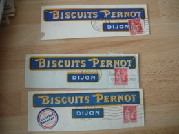 Perfin LOT DE 3 BISCUITS PERNOT PERFORE B P SUR FRAGMENT - France