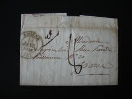 Cachet Type 13 Lettre Taxee 8 Amiens Pour Paris - Storia Postale