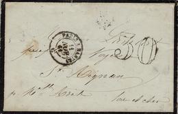 1861 -  Env.  Cad  Ambulant PARIS A NANTES  + Taxe 30 Dt -combinaison Peu Courante - Postmark Collection (Covers)