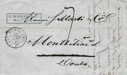 1847- Lettre En Port Du  De Paris Bureau Auxilliaire A S   -  Taxe 7 D. Pour Montbéliard - Postmark Collection (Covers)