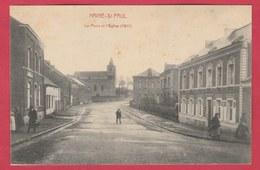 Haine-St-Paul - La Place Et L'Eglise 1911 ( Voir Verso ) - La Louvière