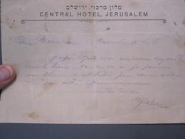 ISRAEL PALESTINE HOTEL CENTRAL MERKAZ AMDURSKY JERUSALEM VINTAGE LETTER PAPER STATIONERY LOGO DESIGN ORIGINAL - Manuscripts