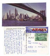 USA, 1953, AK Von New York/Brooklyn Bridge Usw. Mit 15c Frankatur U. Zensurstempel (14014W) - Covers & Documents