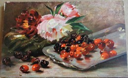 CPA NATURE MORTE FLEURS PIVOINES / CERISES FRUITS . ART . STILL LIFE FLOWERS PIVOINE  / CHERRIES SILVER PLATE - Fleurs