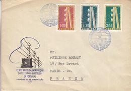 Portugal - Lettre De 1955 - Oblit Porto - Télégraphe électrique - Exp Vers Paris - Valeur 19 Euros - 1910-... Republic