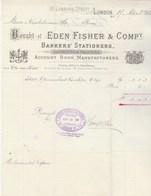 Royaume Uni Facture Illustrée 17/4/1882 EDEN FISHER Engravers & Printers LONDON - United Kingdom