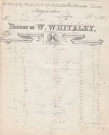 Royaume Uni Facture Illustrée 1877 W WHITELEY Westbourne Grove Bayswater  LONDON - United Kingdom