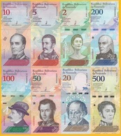Venezuela Set 2 5 10 20 50 100 200 500 Bolivares Soberanos P-new 2018 UNC - Venezuela