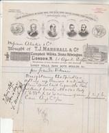 Royaume Uni Facture Illustrée 1896 T J MARSHALL Campell Works, Stoke Newington LONDON - VOIR SCAN - United Kingdom
