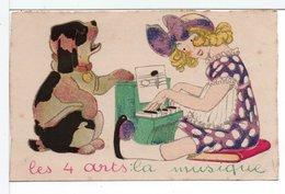 CPA - FILLETTE ET CHIEN - LES 4 ARTS : LA MUSIQUE / PIANO - Cartes Humoristiques