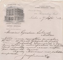 Royaume Uni Facture Lettre Illustrée 7/9/1892 Josef SUSMAN Leather Importers LONDON - United Kingdom