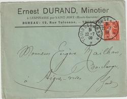 10c Semeuse ESC Minoterie Durand à Lespinasse/Saint Jory Haute Garonne Convoyeur Ligne Toulouse à Agen 1909 - Marcophilie (Lettres)