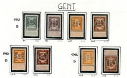 Typo Gent - 1912 Tot 1914 Zonder Gom (*) - Precancels