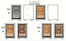 Typo Liège - 1912 Tot 1914 Sans Gomme (*) - Precancels
