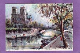 75 04  PARIS 4eme NOTRE DAME DE PARIS ET LA SEINE Péniche  Peinture De Marius GIRARD - Notre-Dame De Paris