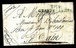 LETI- RARISSIME MARQUE BLEUE GRANDE ARMÉE N° 14 DE STRIÉGAU- POLOGNE- 1808- 4 SCANS - Marcophilie (Lettres)