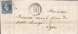 MARQUE POSTALE LAC 01 NANTUA A LYON   PC 2225 S/14   8 DEC 1861 - 1849-1876: Période Classique