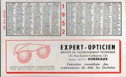 Bordeaux (33 Gironde) Buvard-calendrier 1952   EXPERT OPTCIEN  (PPP17627) - O