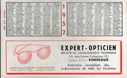 Bordeaux (33 Gironde) Buvard-calendrier 1952   EXPERT OPTCIEN  (PPP17627) - Blotters