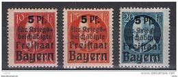 BAVIERA:  1919  SOPRASTAMPATI  -  S. CPL. 3  VAL. L. -  YV/TELL. 171/73 - Nuovi