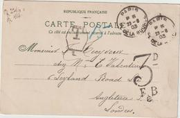 CP 10c Semeuse Cad Paris -> Angleterre Taxée 3d 1903 - 1877-1920: Semi Modern Period