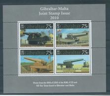 Gibraltar - Malta Joint Issue 2010 Miniature Sheet. 100  Ton Guns - Gibraltar