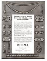 """PUB  BIJOUX   """" BURMA """"  ( ART DECO )  1931  ( 3 ) - Bijoux & Horlogerie"""