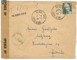 GANDON 20FR N° 728 SEUL LETTRE REC PROVISOIRE BLAISY BAS COTE D'OR 5.2.1947 POUR AUTRICHE + BANDE CEN CIVILS MAILS RARE - 1945-54 Marianne (Gandon)
