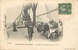 Pays Div-ref R726- Algerie - Bateaux - Steamers - Traversee D Algerie - Le Pont D Un Steamer C G T  - Carte Bon Etat - - Algérie