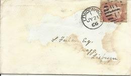 GRAN BRETAÑA CARTA CON MATASELLOS LONDON - 1840-1901 (Victoria)