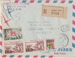 ESC /avion Recommandée Saint Paul Réunion 72f CFA (1 Déf)  1982 - Postmark Collection (Covers)
